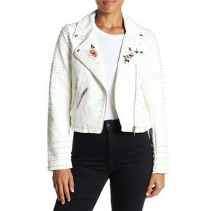 BLANKNYC White Studded Floral Faux Leather Jacket